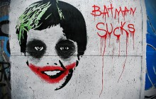 BATMAN SUCKS Rome, Italy 2011 Stencil and freehand, about 200x160 cm by UNO