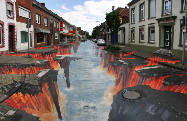 3D Street Art von Edgar Muller in Geldern 3D Street painting