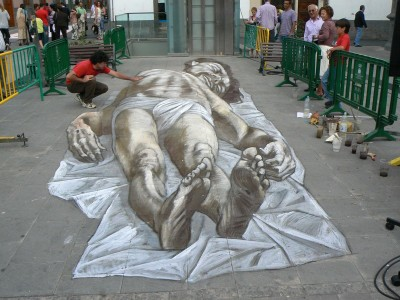 cristochereducido 3d street art